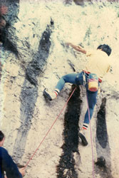 Dave Kenyon on the first ascent of Raindogs 8a at Malham Cove in 1986.  This has atained classic status and is on most 8a climbers wish list.